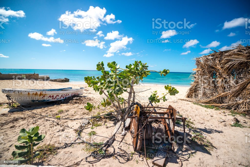 Historic downtown of Cockburn Town, capital of Turks and Caicos Islands stock photo