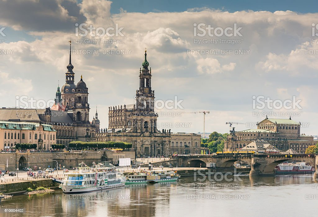 Historic Dresden at the river Elbe waterfront stock photo