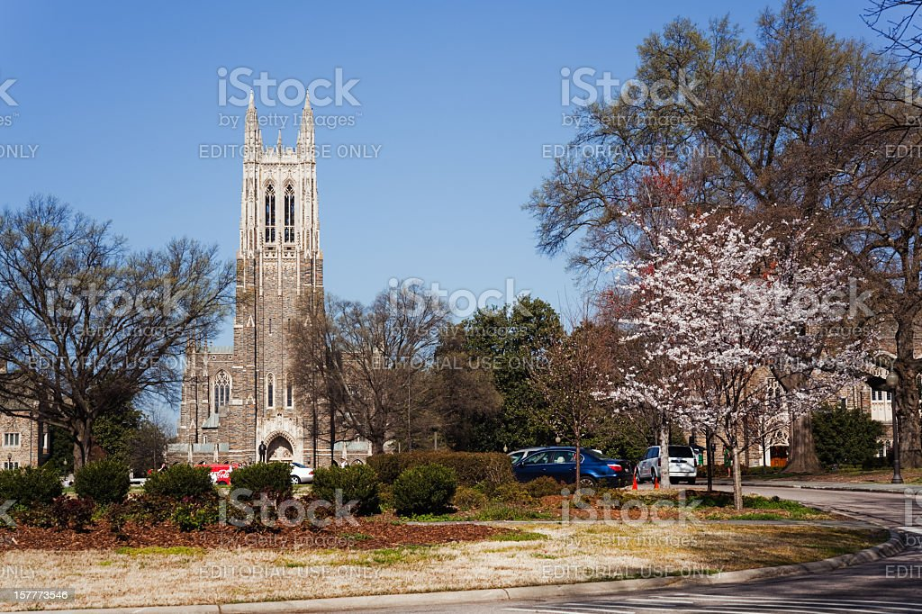 Historic Duke University campus in the spring stock photo