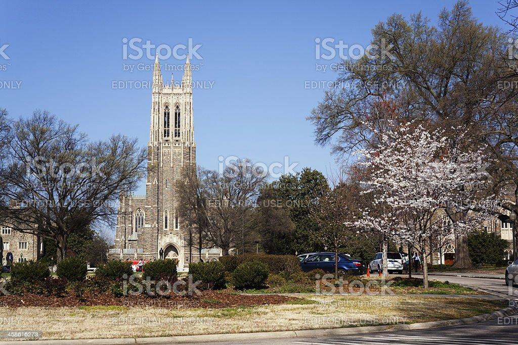 Historic Duke University campus in the spring stock photo