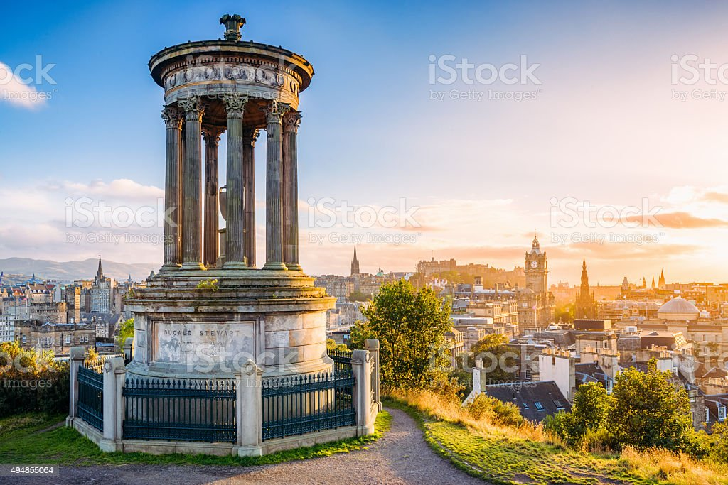 Historic Edinburgh from Calton Hill at sunset stock photo