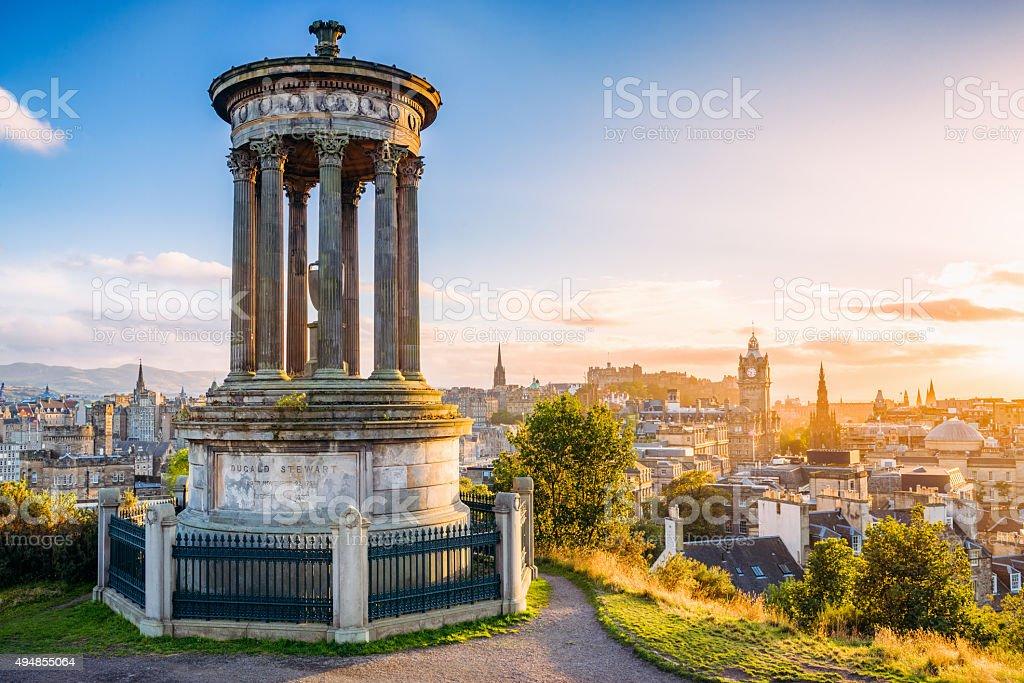 Historic Edinburgh from Calton Hill at sunset stock photo