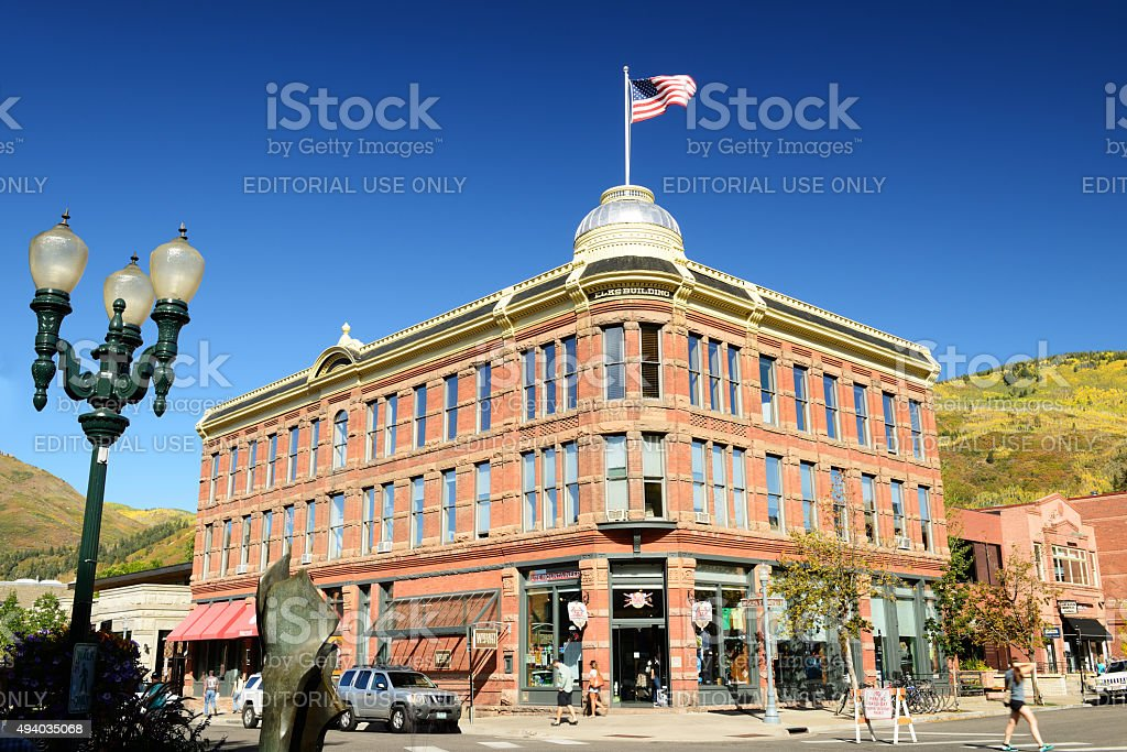 Historic Elk Building in Downtown Aspen stock photo