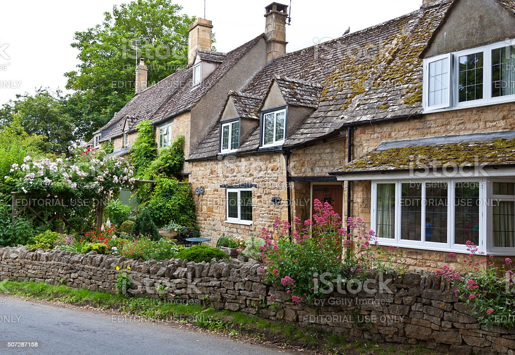 Historic English Houses in Chipping Campden, Cotswold, England, United Kingdom. stock photo