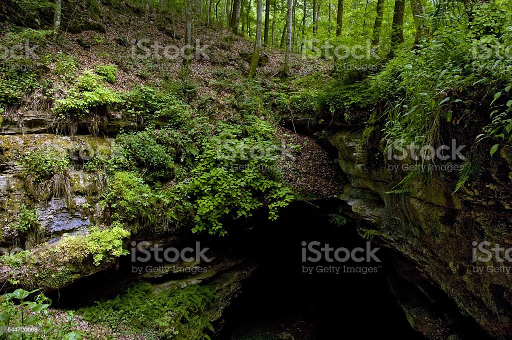 Historic Entrance to Mammoth Cave, Kentucky stock photo