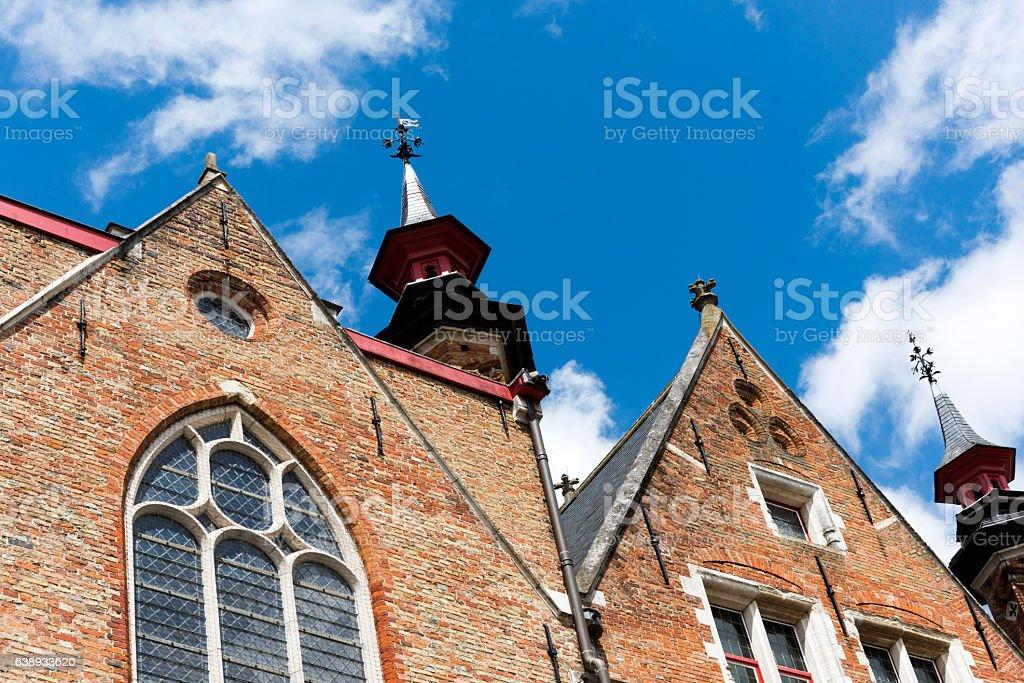 Historic facade of Bruges in Belgium stock photo