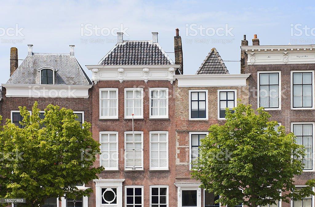 Historic facades in Middelburg, Zeeland, Netherlands royalty-free stock photo