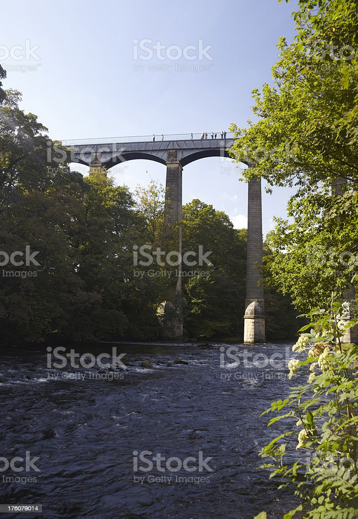 Historic Froncysyllte Aqueduct canal from River Dee, near Llangollen, Wales royalty-free stock photo