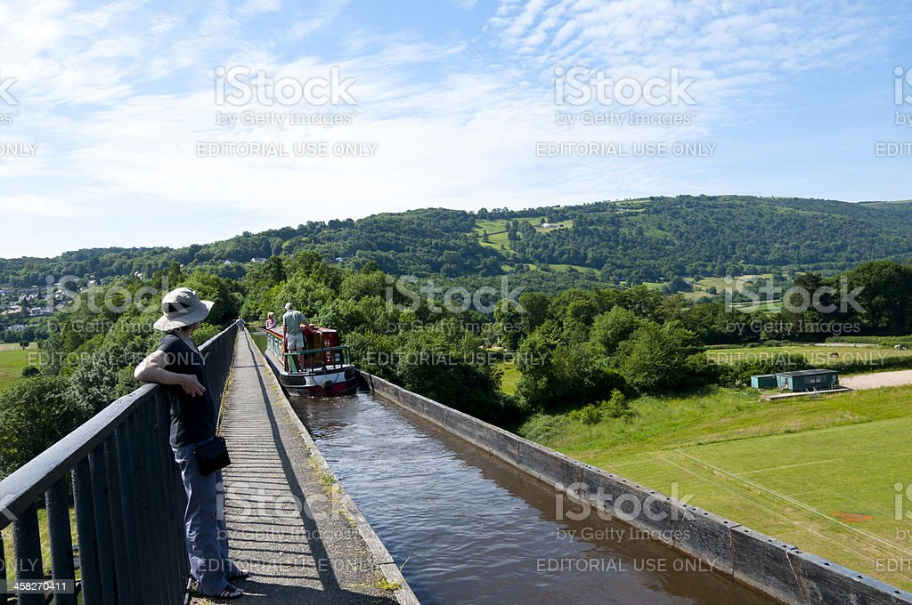 Historic Froncysyllte Aqueduct canal near Llangollen, Wales royalty-free stock photo