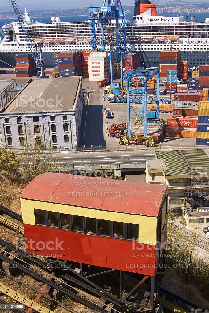 Historic Funicular in Valparaiso, Chile stock photo