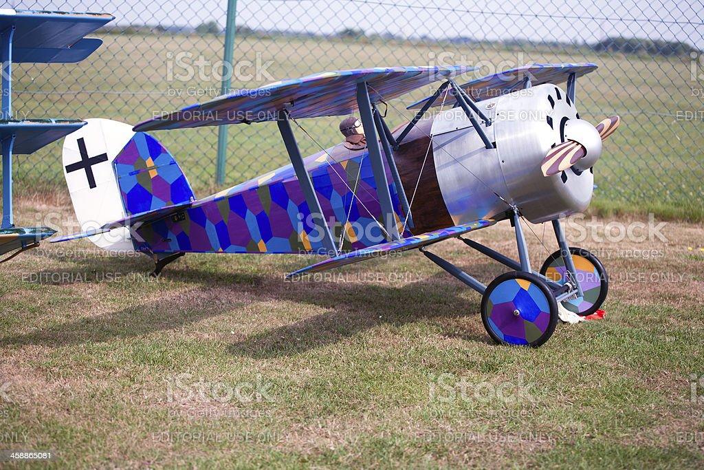 Historic german Fokker biplane model royalty-free stock photo