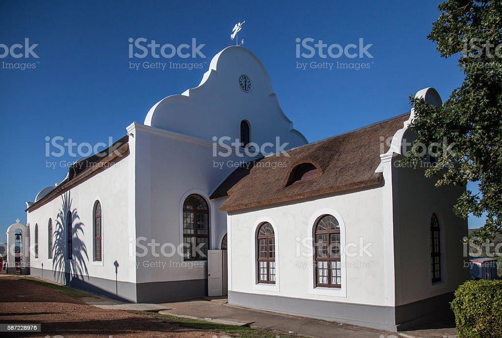 Historic German mission church in Elim village stock photo