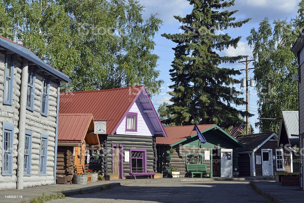 Historic Gold Rush Era houses, Alaska stock photo