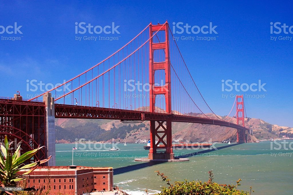 Historic Golden Gate bridge in San Francisco California royalty-free stock photo
