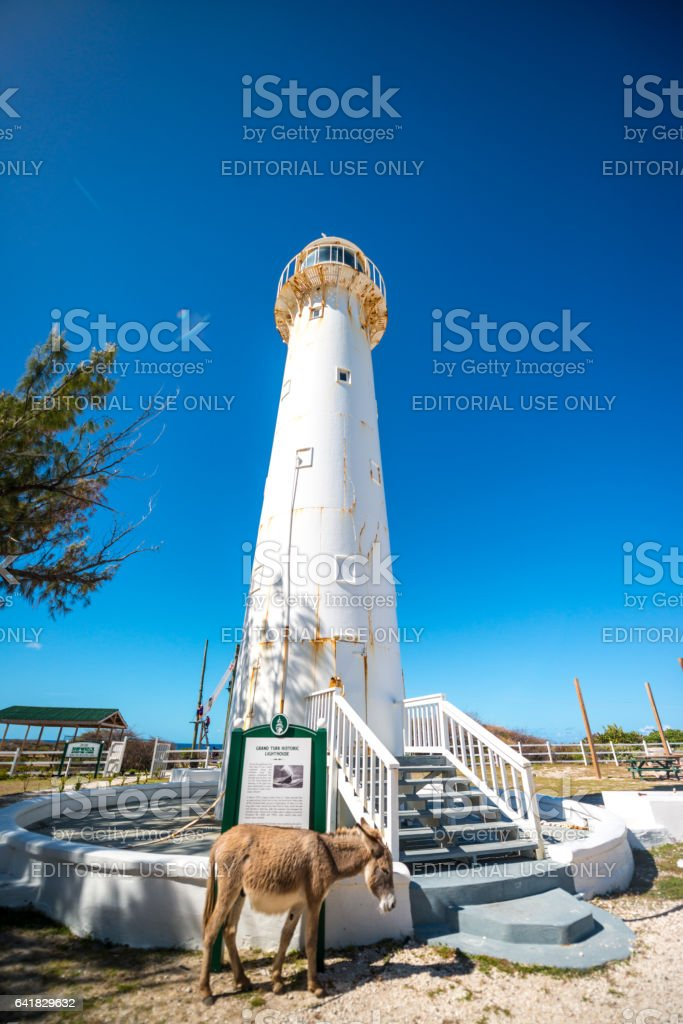 Historic Grand Turk Lighthouse, Turks and Caicos Islands stock photo