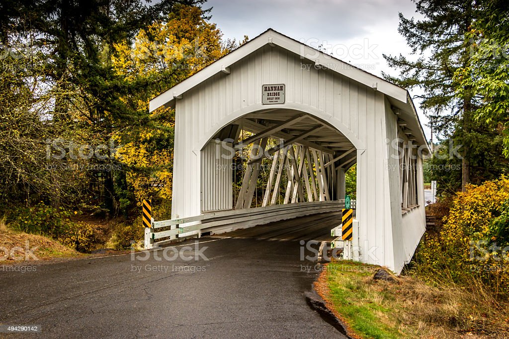 Historic Hannah Covered Bridge Thomas Creek Scio Oregon Autumn Foliage stock photo