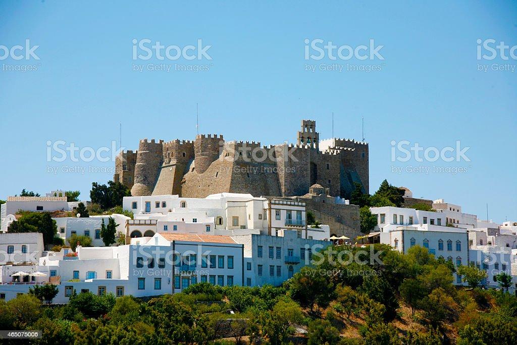 historic holly monastery in Patmos island Greece stock photo