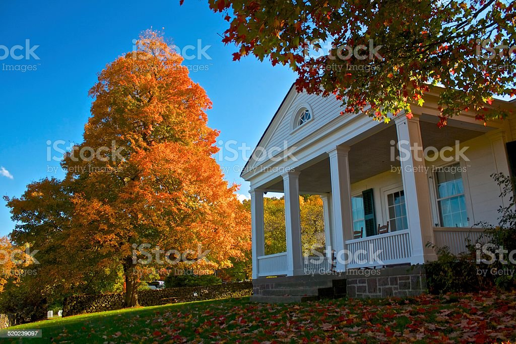 Historic Home in Autumn stock photo