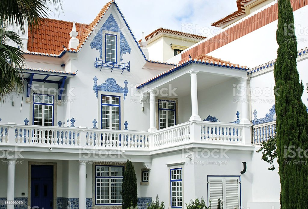 Historic home with painted tile exterior in Portugal royalty-free stock photo