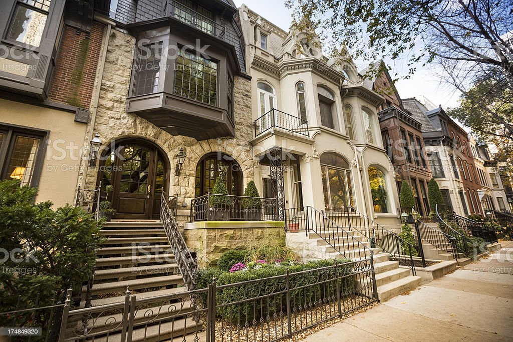 Historic homes in Chicago stock photo