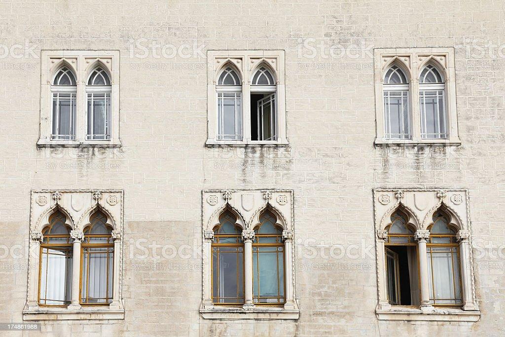 historic house facade with six  venetian windows   Croatia royalty-free stock photo