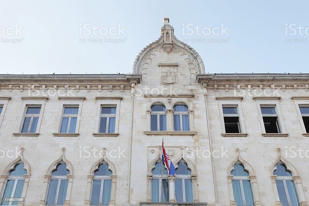 historic house facade with venetian windows   Croatia royalty-free stock photo
