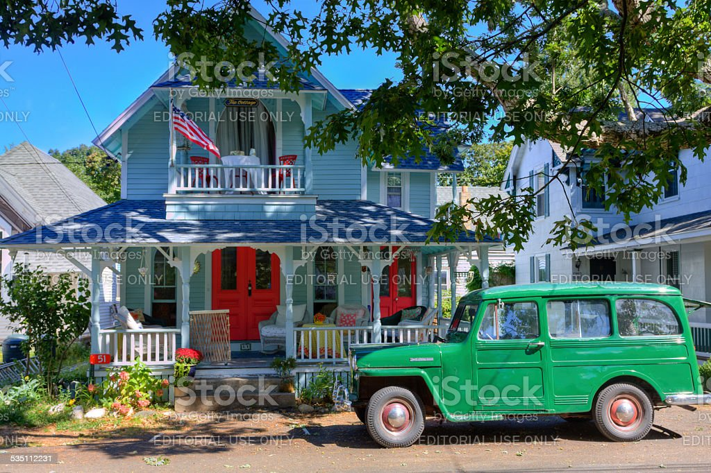 Historic House in Oak Bluffs, Martha's Vineyard, Massachusetts, USA. stock photo