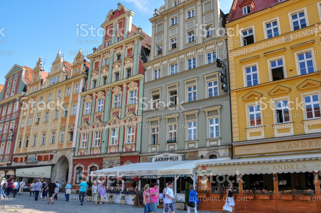 Historic houses at the market square in Wroclaw, Poland stock photo