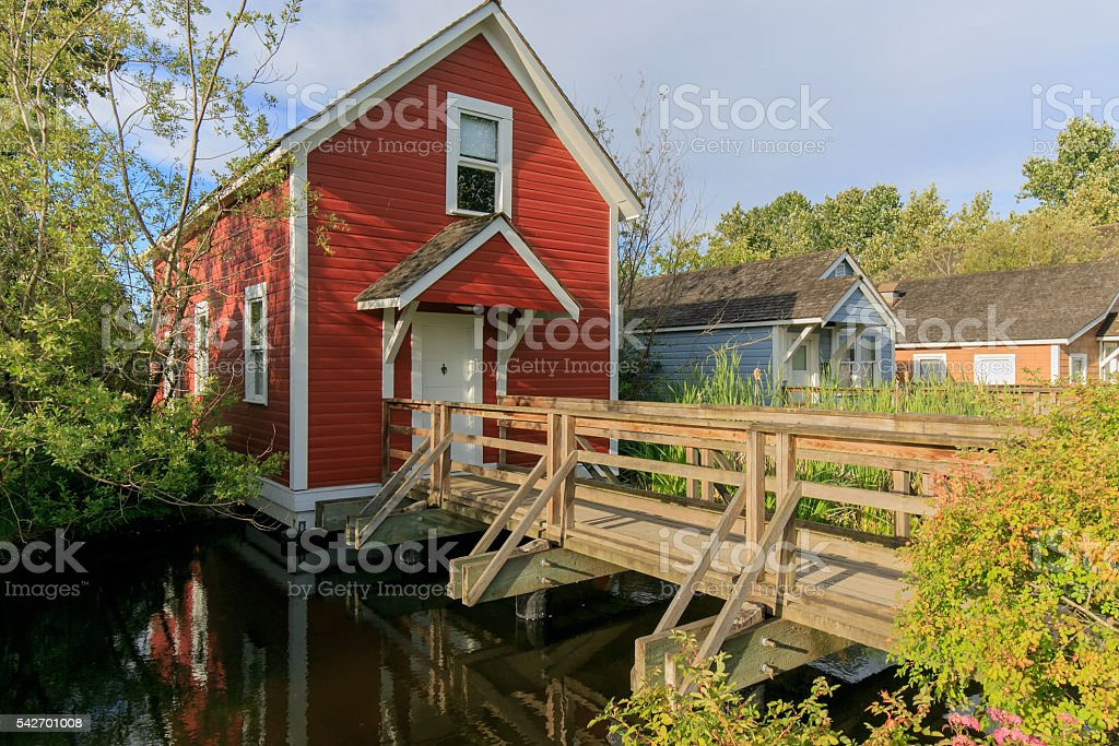 Historic houses for families in the early days of fishing stock photo
