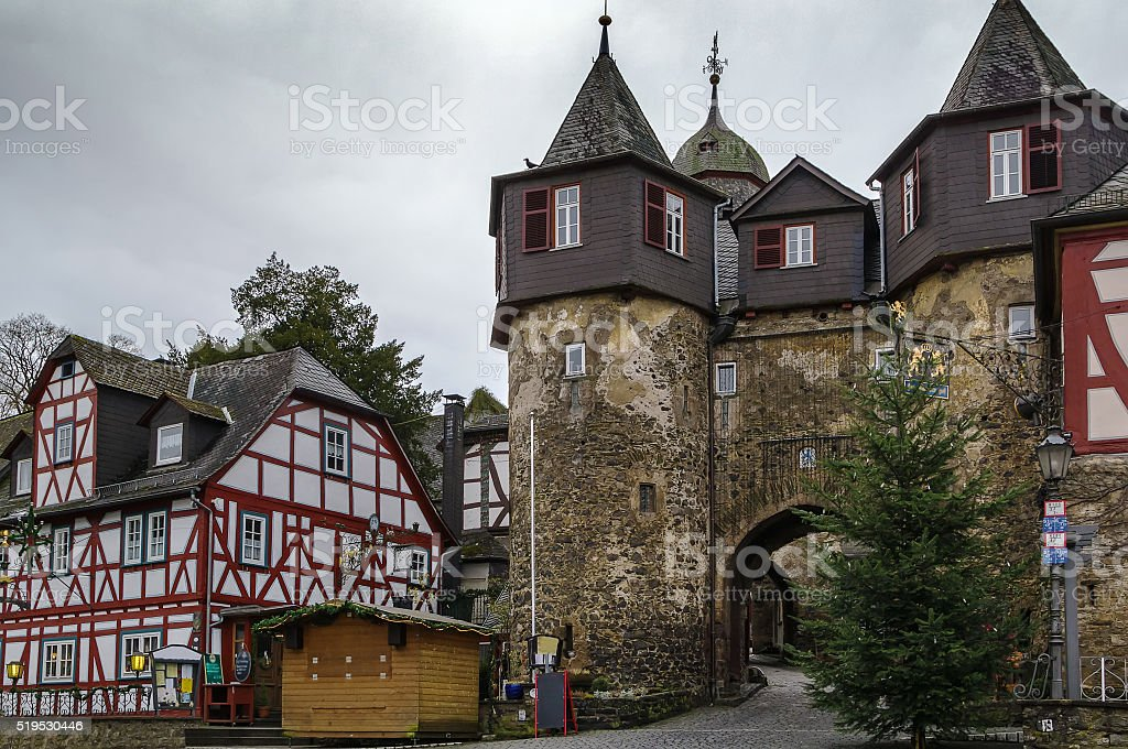 Historic houses in Braunfels, Germany stock photo