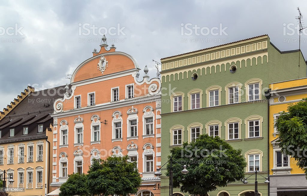 historic houses in Straubing, Germany stock photo