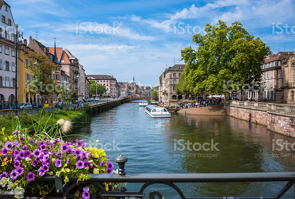 Historic houses in the district La Petite France in Strasbourg stock photo