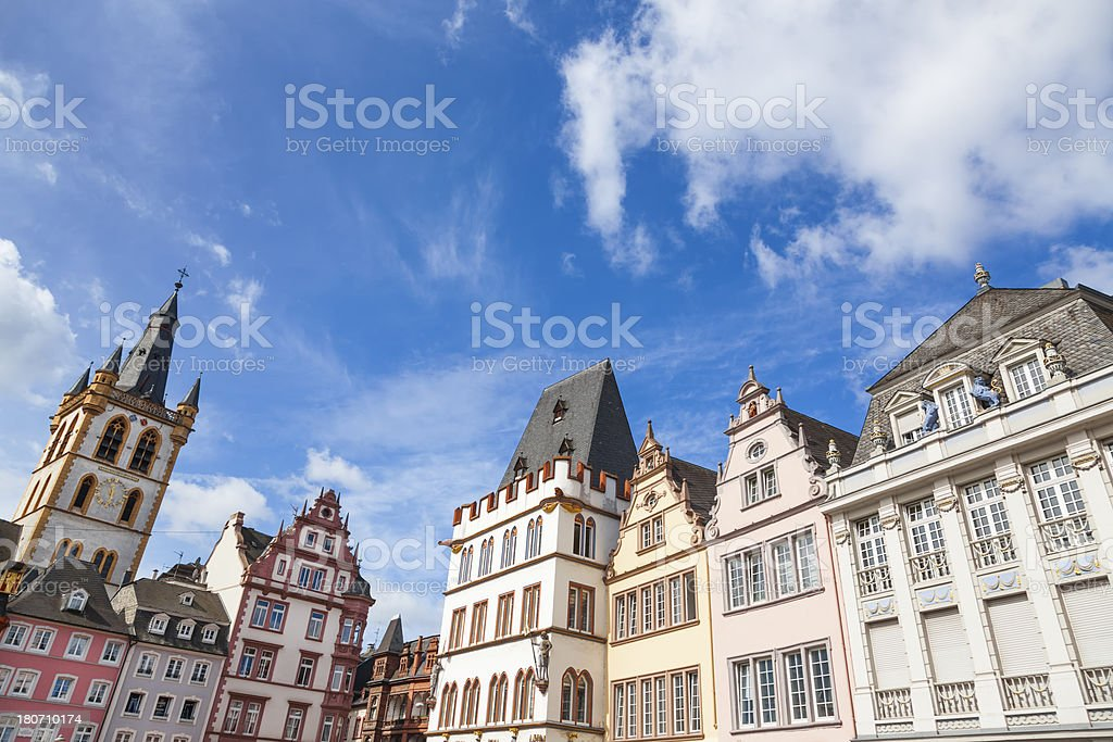 Historic houses in Trier market square, Germany stock photo