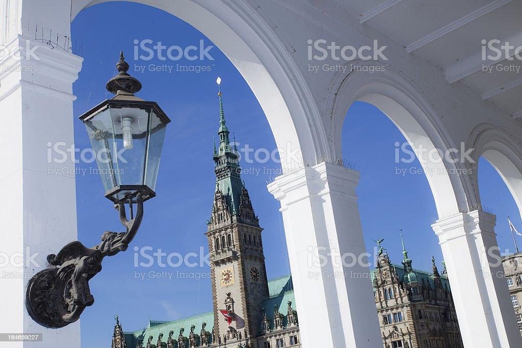 historic illumination in Hamburg stock photo
