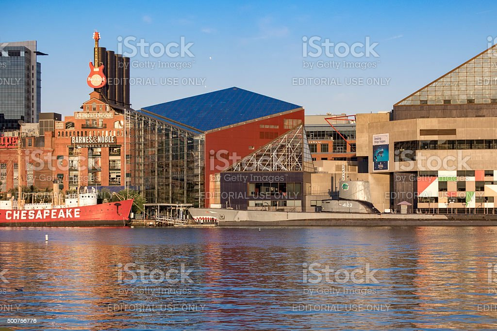 Historic Inner Harbor Baltimore Looking across Water to Tourist Attractions stock photo