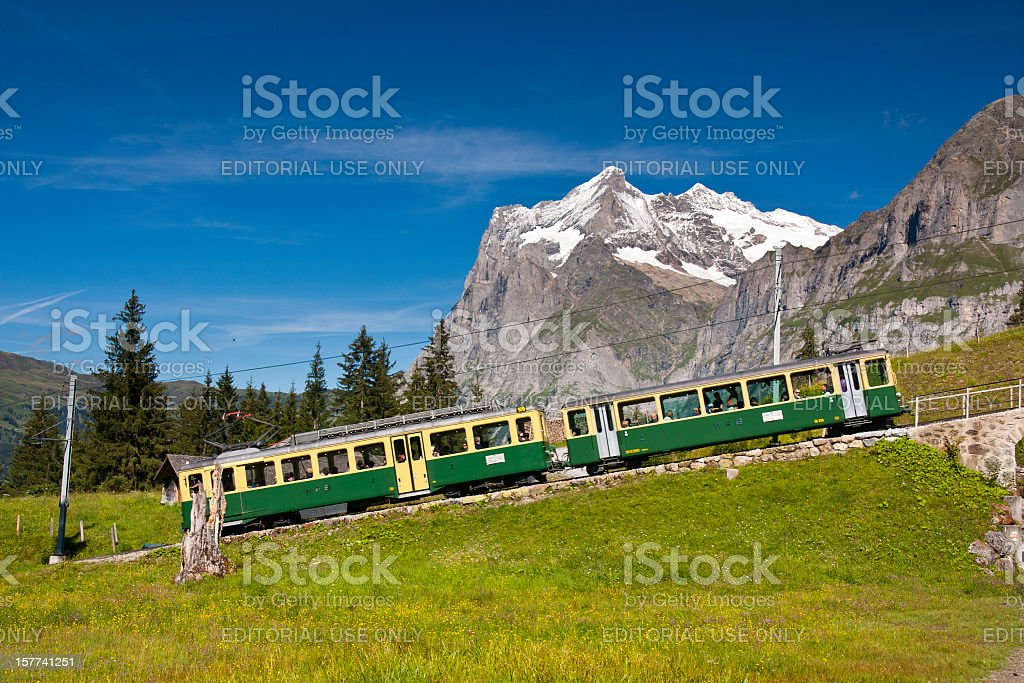 Historic Jungfraubahn, Swiss Alps stock photo