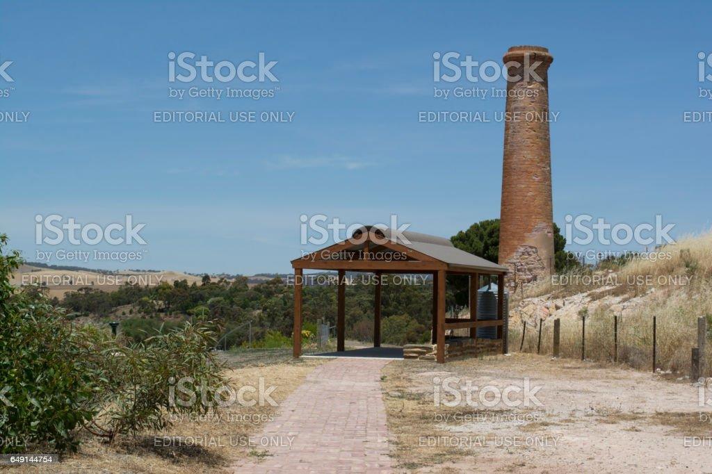 Historic Kapunda Copper Mine Chimney, South Australia stock photo