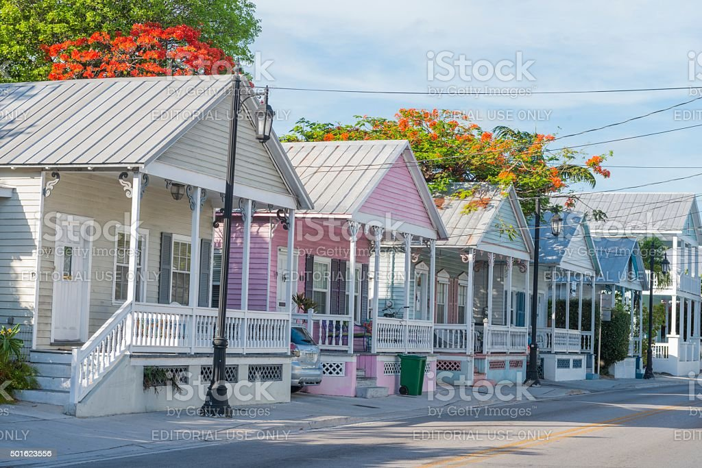 Historic Key West Architecture Wooden Real Estate Homes stock photo