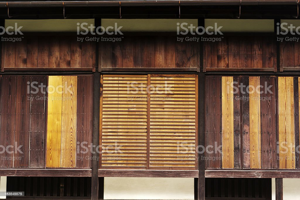 Historic Kyoto Imperial Palace Old Wooden Door and Wall Detail royalty-free stock photo