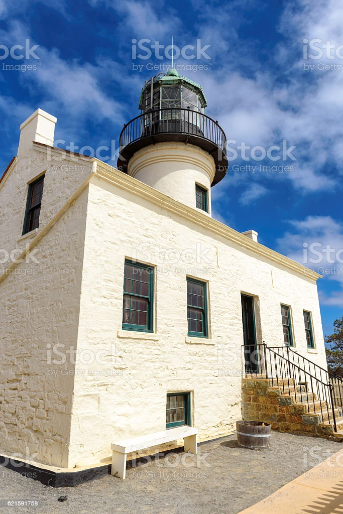 Historic Lighthouse in California, Old Point Loma Lighthouse stock photo