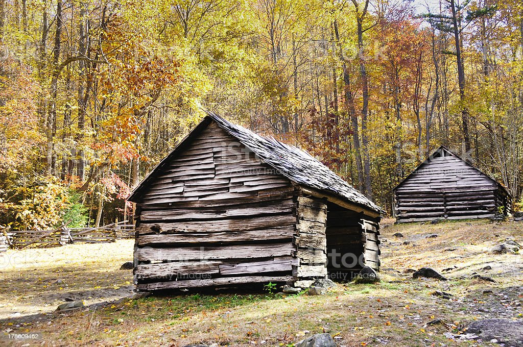 Historic log cabins in Smoky mountain national park royalty-free stock photo
