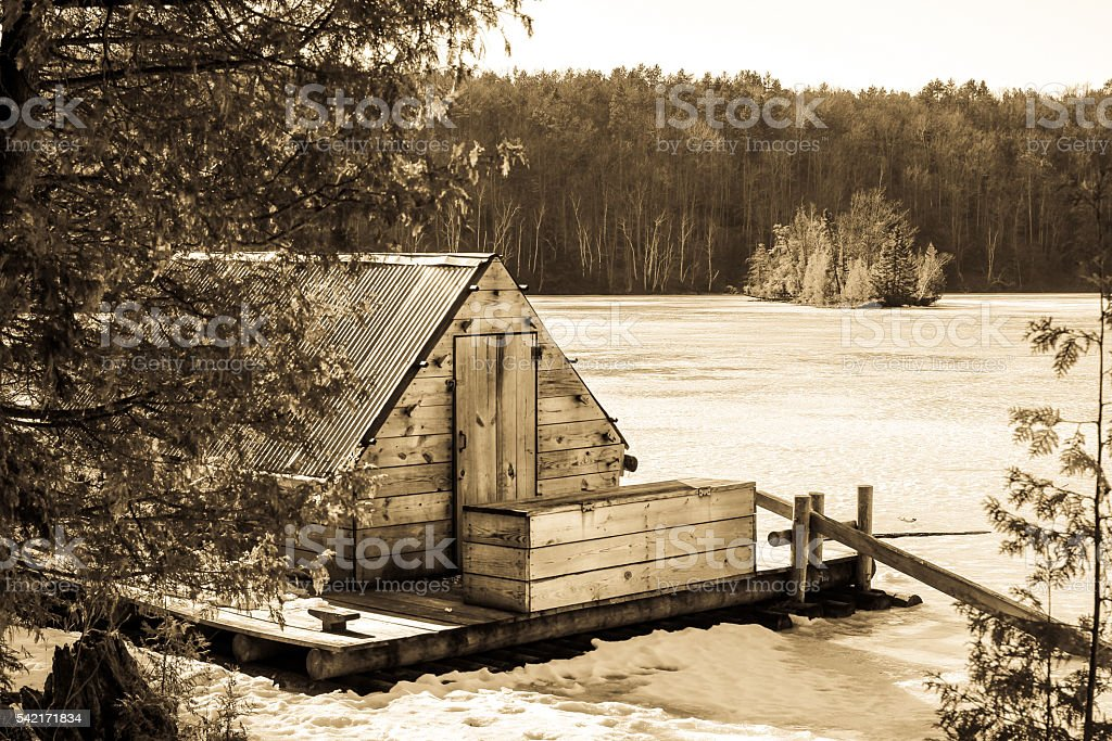 Historic Logging Raft In Northern Michigan stock photo