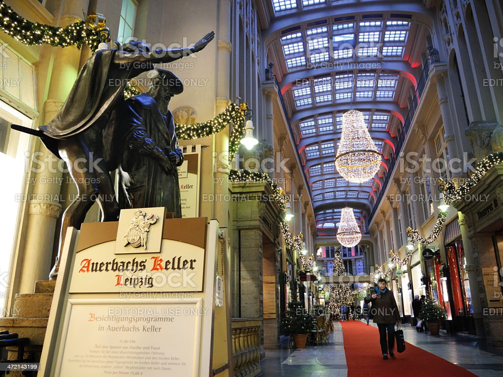 historic Maedler passage in Leipzig decorated for christmas stock photo