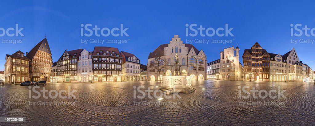 Historic market place in the old city of Hildesheim Germany stock photo