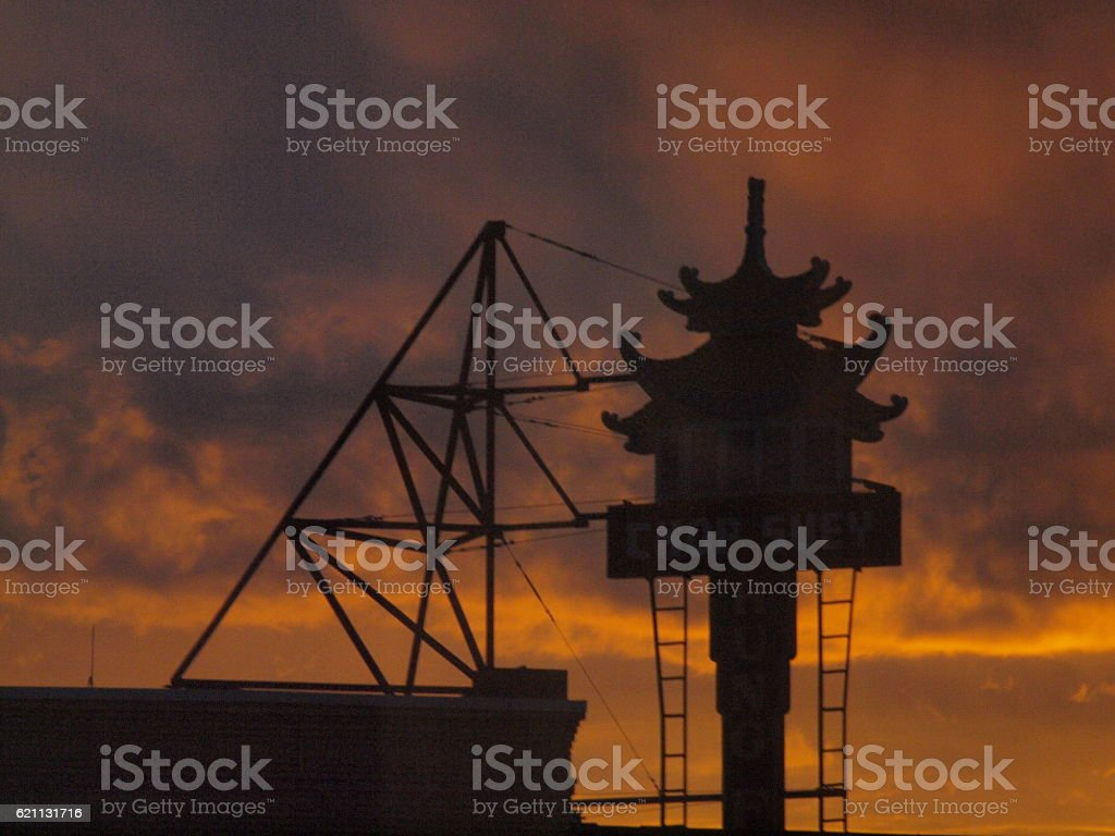 Historic marquee against dawn colours stock photo