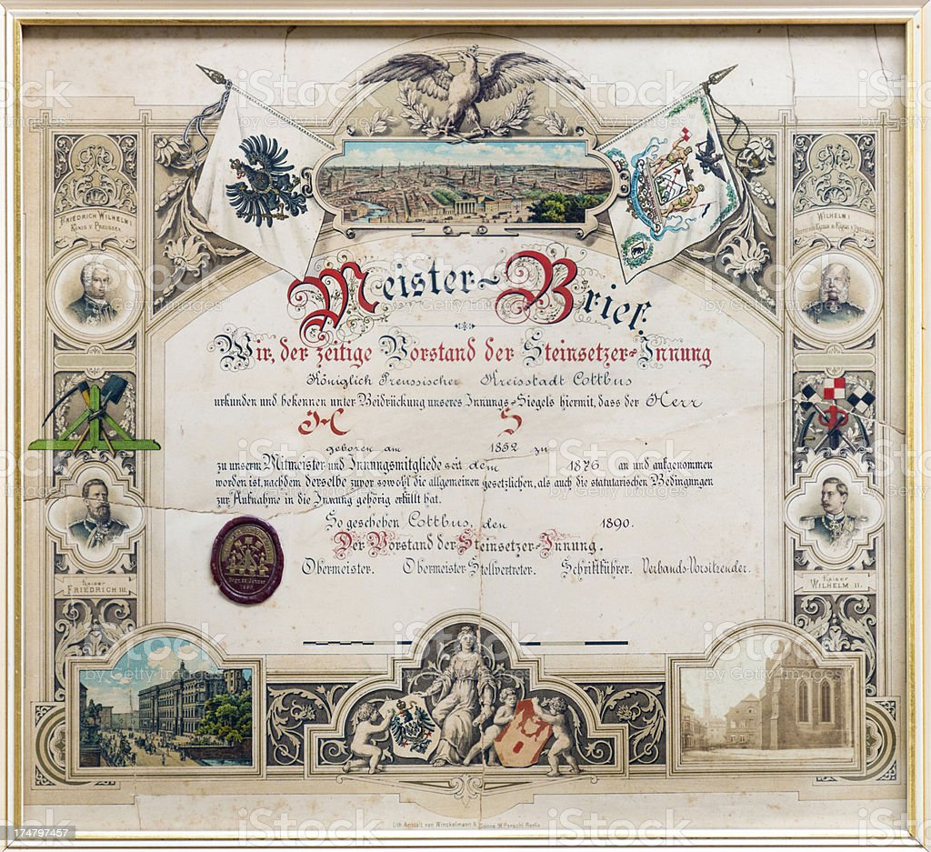 Historic Master Craftsman's Certificate from 1890, Germany. stock photo
