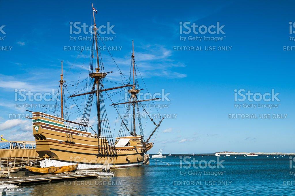 Historic Mayflower II stock photo