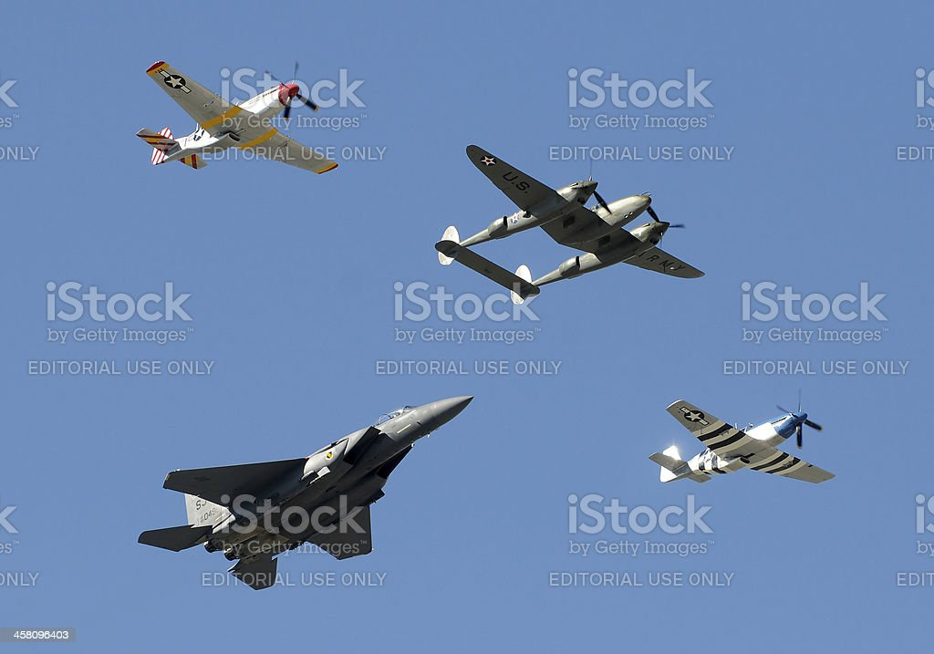 Historic military airplanes in fly by royalty-free stock photo