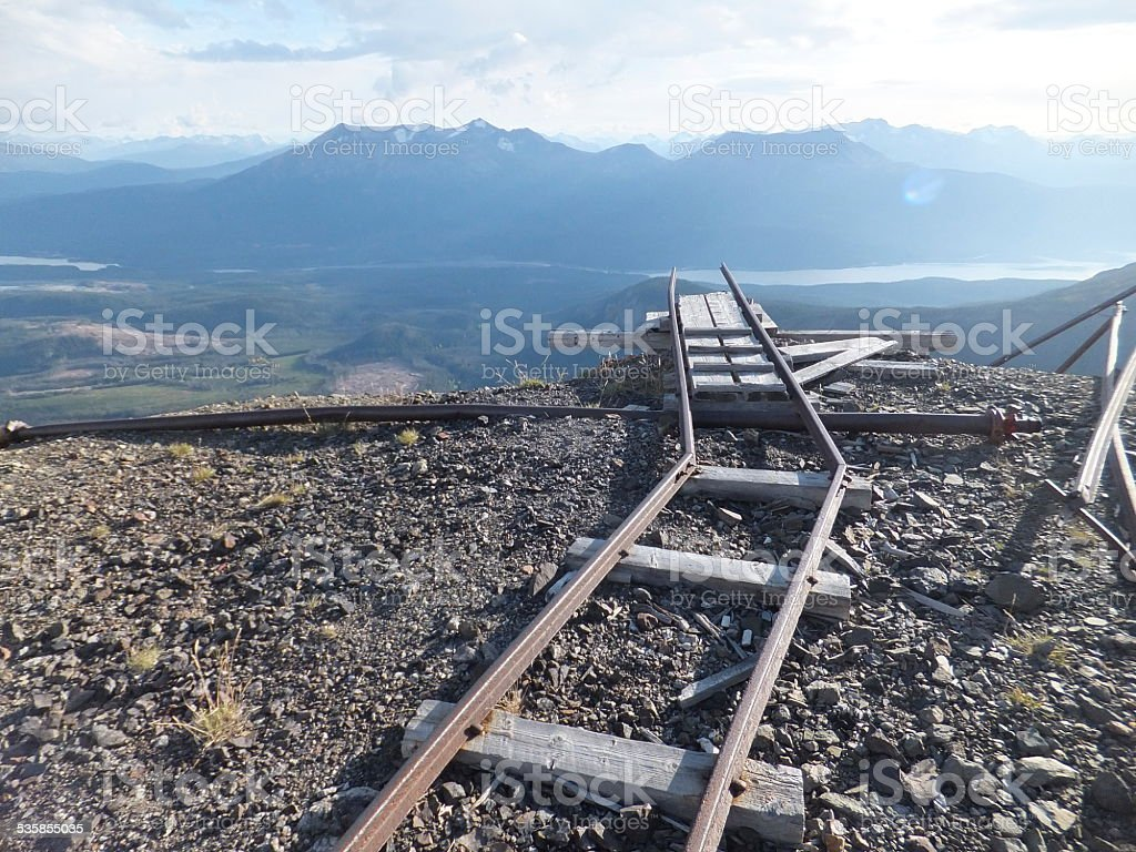 Historic mine tunnel rail stock photo