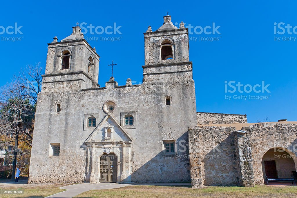 Historic Mission Concepcion in San Antonio, Texas stock photo